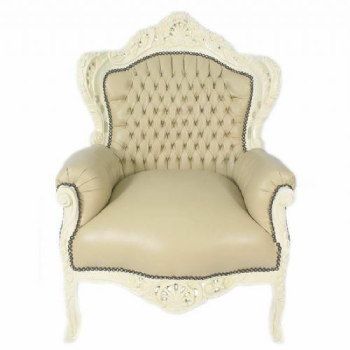 ARMCHAIR - BAROQUE STYLE ARMCHAIR CREAM & BEIGE # F30MB140